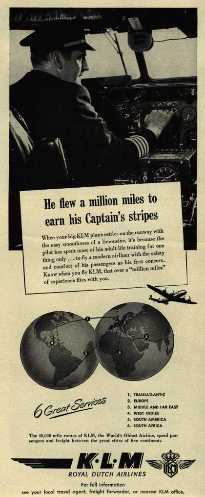 KLM Royal Dutch Airline&#8217;s Air Travel &#8211; He Flew a Million Miles to Earn His Captain&#8217;s Stripes (1947)
