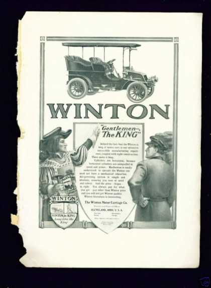 Art Nouveau Winton Motor Car Ad – Winton Is King (1904)
