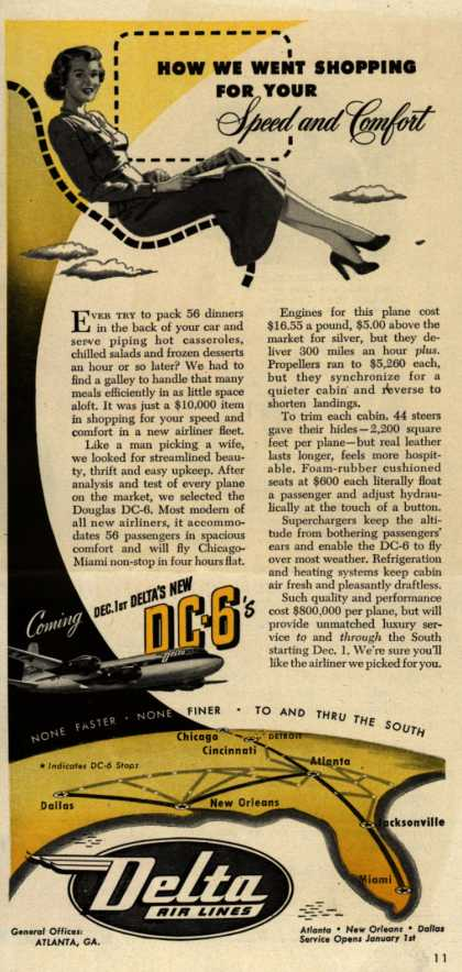Delta Airline's DC-6 – How We Went Shopping For Your Speed and Comfort (1948)