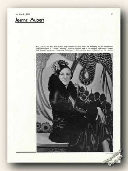 Jeanne Aubert Photo By Vandamm Theatre Feature (1931)