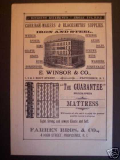 E. Winsor Carriage Makers + Gaurantee Mattres Ads (1881)