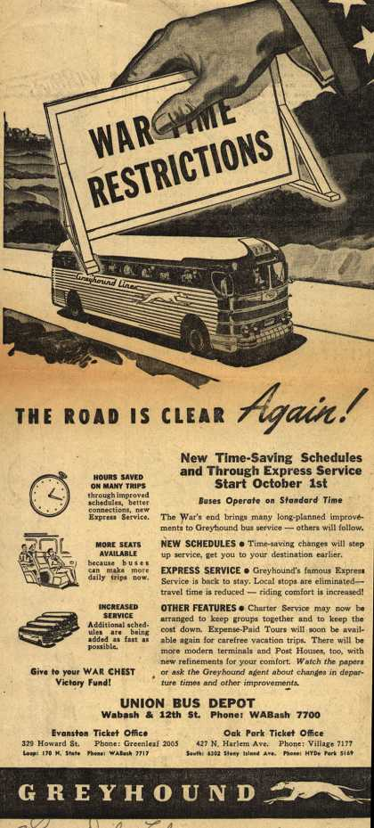 Greyhound's Removal of War Time Restrictions – The Road Is Clear Again (1945)