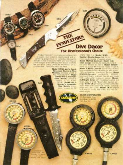 Dacor Watch Knife Gauge Scuba Diver Diving (1978)