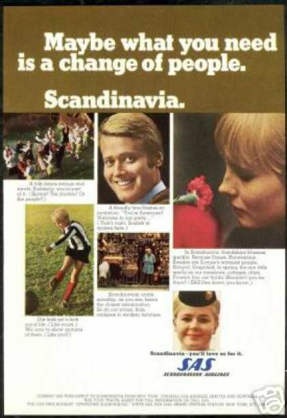 SAS Scandinavian Airline Stewardess Photo (1968)