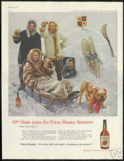 Bulldog Igloo Sled 49th State Four Roses Whisky (1959)
