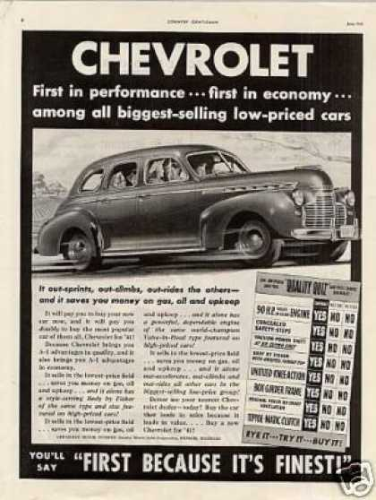 "Chevrolet Car Ad ""First In Performance... (1941)"