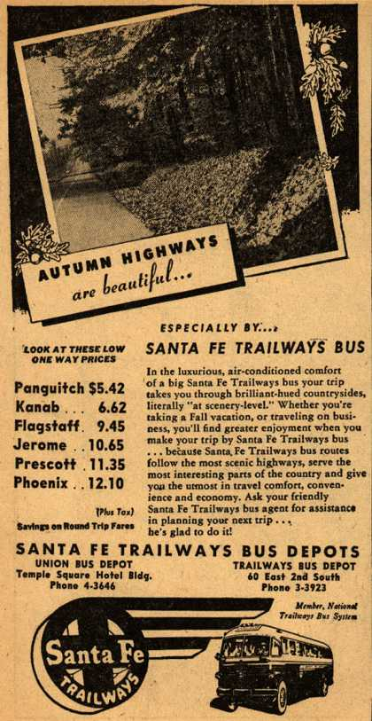 Santa Fe Trailways – Autumn Highways are beautiful... (1946)