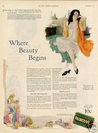 "Palmolive Soap Ad ""Where Beauty Begins... (1923)"