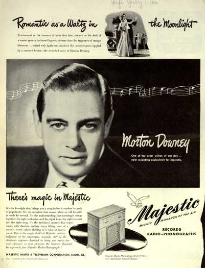 Majestic Radio & Television's Majestic Radio-Phonograph Model 8S473 – Romantic as a Waltz in the Moonlight (1946)