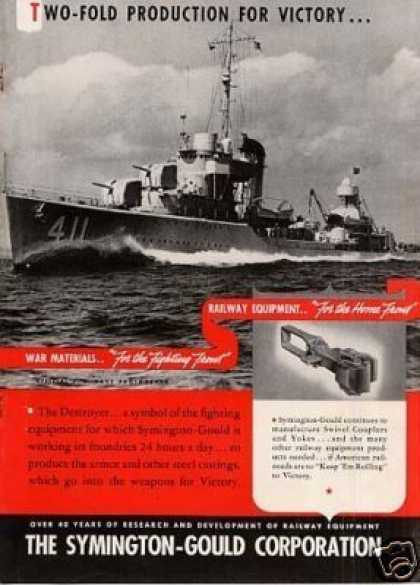 Wwii Symington-gould Ad Navy Destroyer (1942)