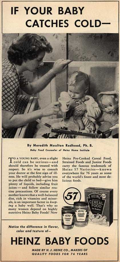 H. J. Heinz Company's Heinz Baby Foods – If Your Baby Catches Cold- (1945)