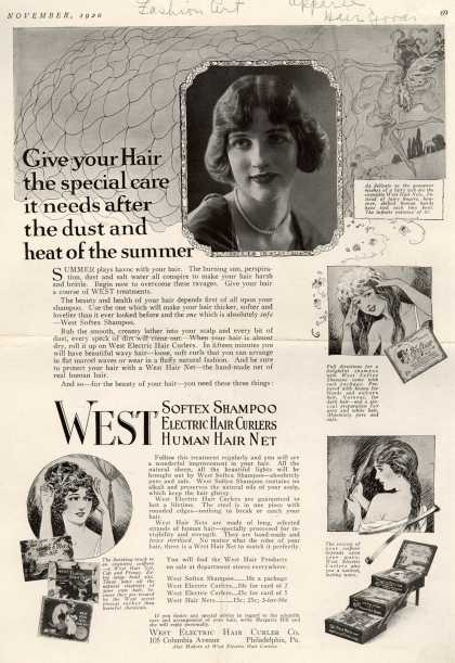 West Electric Hair Curler Company's West Human Hair Net, Softex Shampoo – Give your Hair the special care it needs after the dust and heat of summer (1920)