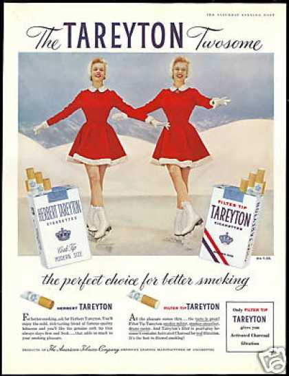 Ice Skate Skating Twins Tareyton Cigarettes (1956)