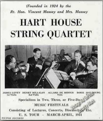 Hart House String Quartet Music Festivals Trade (1944)