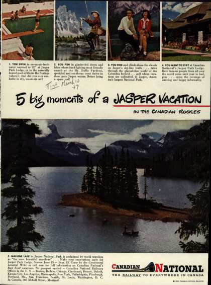 Canadian National Railway's Jasper National Park – 5 big moments of a Jasper Vacation (1947)