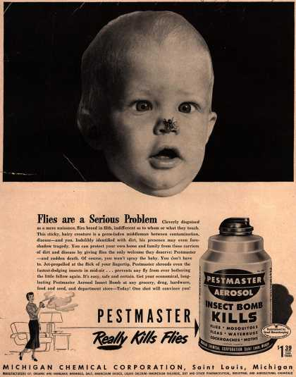 Michigan Chemical Corporation's Pestmaster Aerosol Insect Bomb – Flies Are a Serious Problem (1950)