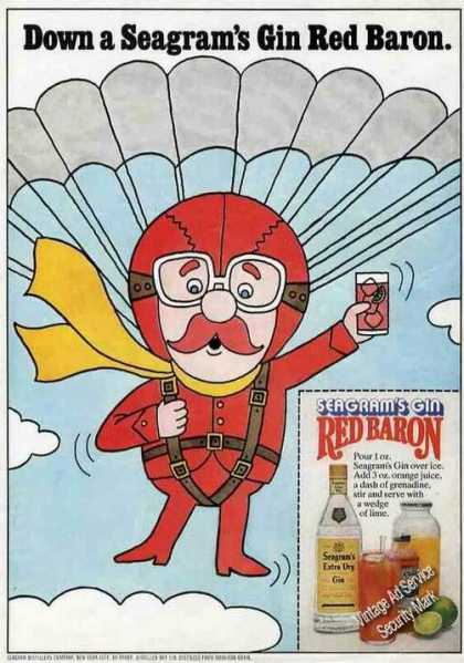 Seagram's Gin Red Baron W/recipe (1975)