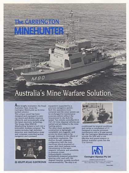 '87 Australian Navy Carrington Minehunter Ship Photo (1987)