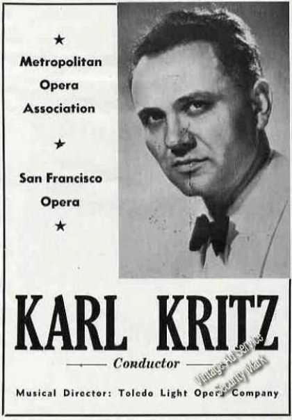 Karl Kritz Photo Conductor Opera Trade (1946)