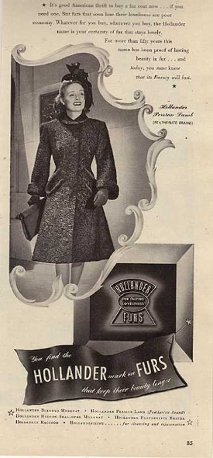 "Hollander's ""Lasting fur beauty is real thrift"" (1942)"