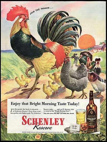 Schenley Whiskey Farm Rooster Chicken Turkey (1945)