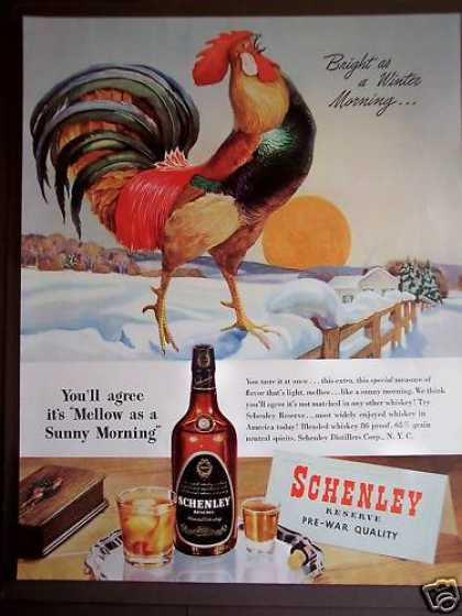 Schenley Whiskey Rooster & Winter Scene (1946)