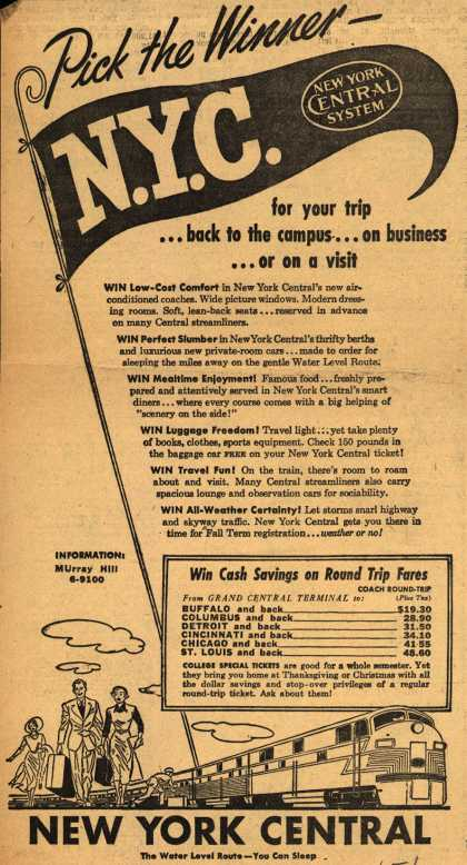 New York Central Railroad Company's New York Central – Pick the Winner – N.Y.C. (1949)