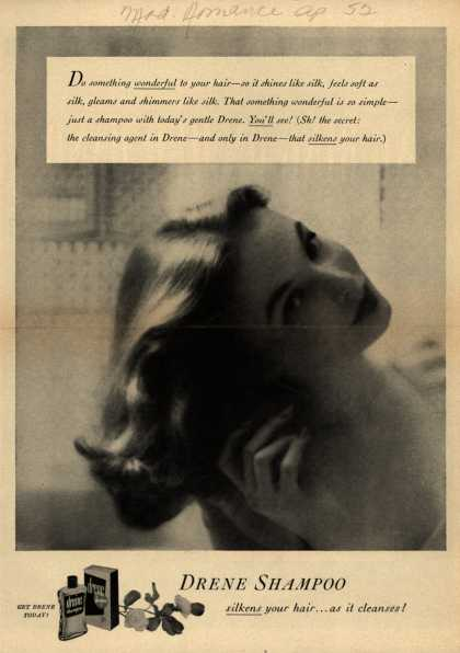 Procter & Gamble Co.'s Drene Shampoo – Drene Shampoo. Silkens your hair... as it cleanses (1952)