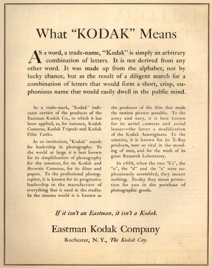 "Kodak – What ""KODAK"" Means (1920)"