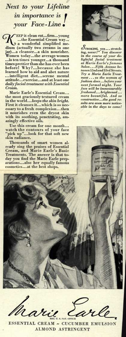 Marie Earle's Cosmetics – Next to your Lifeline in importance is your Face-Line (1928)