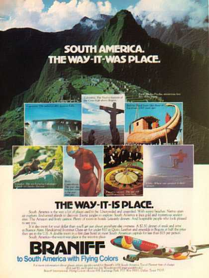 Braniff Airlines – To South America With Flying Colors – Sold (1976)