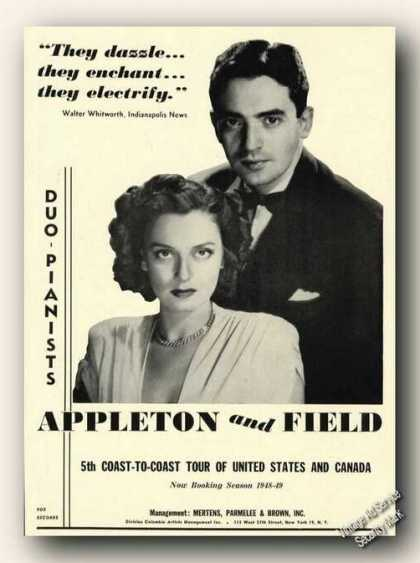 Appleton & Field Photo Duo-piano Ad Music (1948)