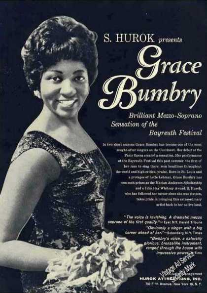 Grace Bumbry Photo Mezzo Soprano Trade (1962)
