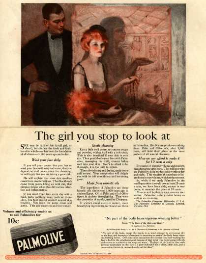 Palmolive Company's Palmolive Soap – The girl you stop to look at (1921)