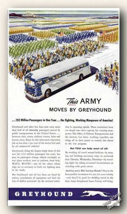 This Army Moves By Greyhound Bus Wwii Color (1943)