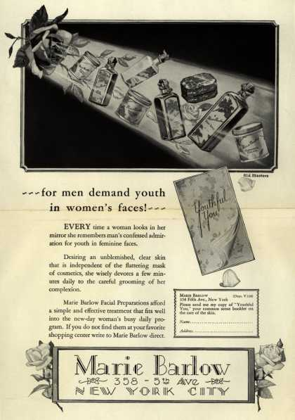 Marie Barlow – for men demand youth in women's faces (1928)