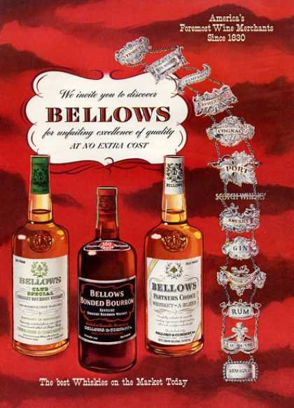Bellows Whiskey Bourbon Bottles (1952)