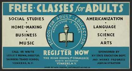 Free classes for adults – register now. (1936)