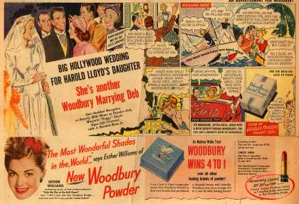 Woodbury's Facial Soap – Big Hollywood Wedding For Harold Lloyd's Daughter. She's another Woodbury Marrying Deb (1948)