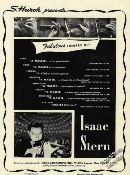 "Isaac Stern ""Fabulous Fingers"" Booking (1949)"