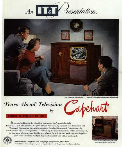 "International Telephone and Telegraph Corporation's Capehart Television line – An IT&T Presentation: ""Years-Ahead"" Television by Capehart (1950)"