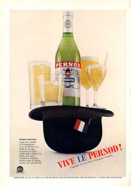 Vive Le Pernod Cocktail Print Hat French (1963)
