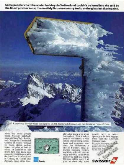 Nice Mt. Santis Switzerland Photo Swissair (1986)