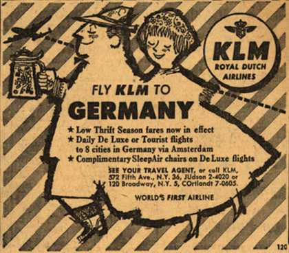 KLM Royal Dutch Airline's Germany – Fly KLM to Germany (1954)