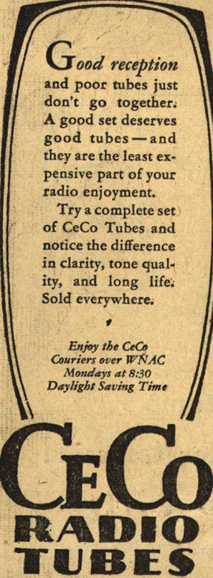CeCo Manufacturing Company's Radio Tubes – Good Reception (1929)
