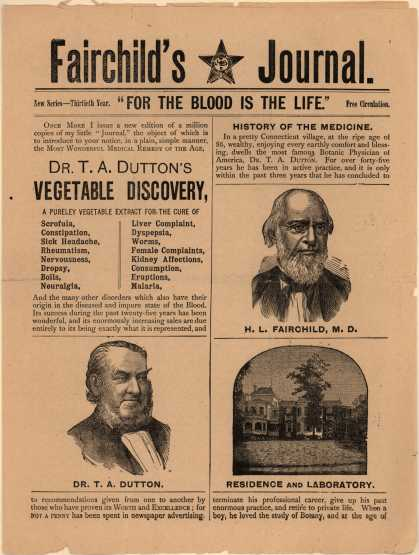 Horace L. Fairchild, M.D.'s Dr. T. A. Dutton's Vegetable Discovery – Fairchild's Journal