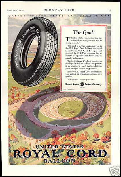 Football Stadium US Royal Cord Balloon Tire (1926)