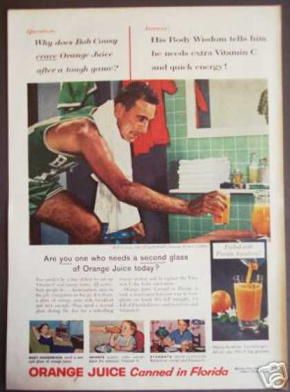 Celtics Basketball Bob Cousy Photo Orange Juice (1957)