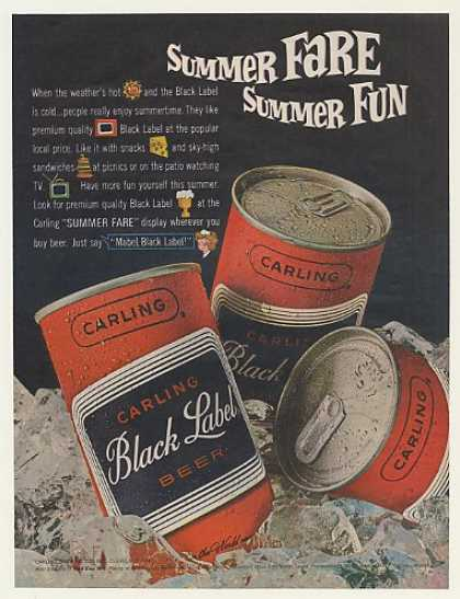 Carling Black Label Beer Cans Summer Fare Fun (1964)