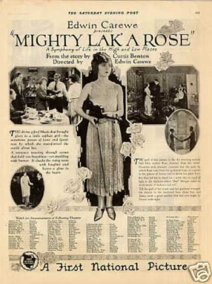 "First National Pictures Ad ""Mighty Lak' a Rose"" (1923)"